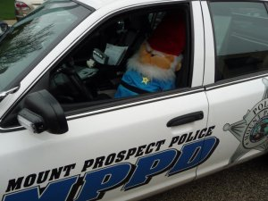 3) Conspire with a fellow officer/accomplice to have a 4-foot tall stuffed lawn gnome show up in your squad car...What? I thought the force might need backup!